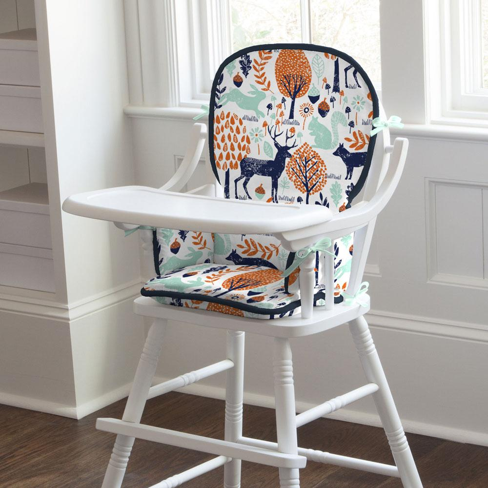 Product image for Navy and Orange Woodland Animals High Chair Pad