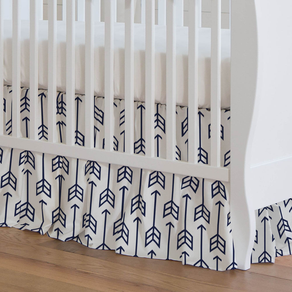 Product image for Navy Arrow Crib Skirt Gathered