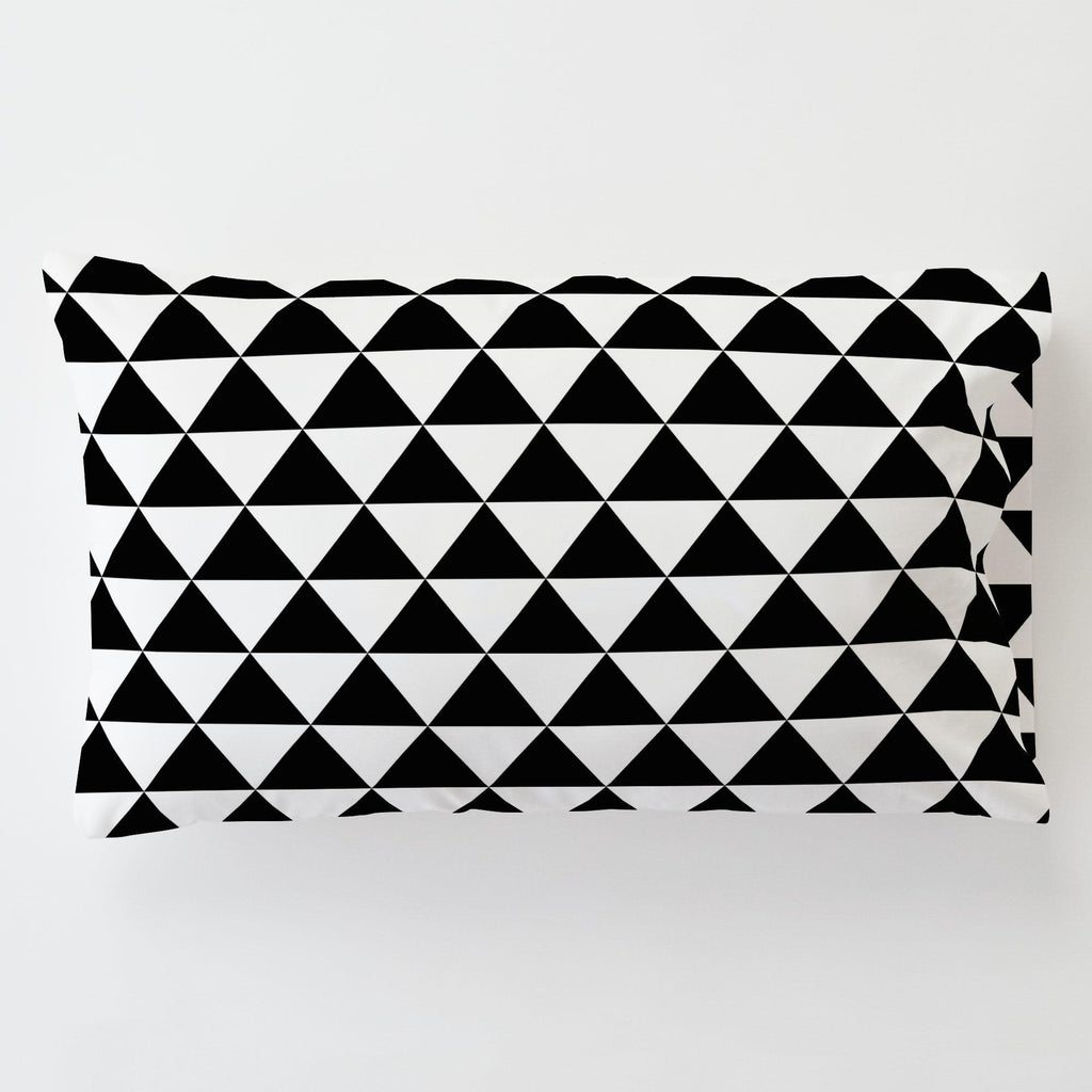 Product image for Onyx Triangle Stack Toddler Pillow Case with Pillow Insert