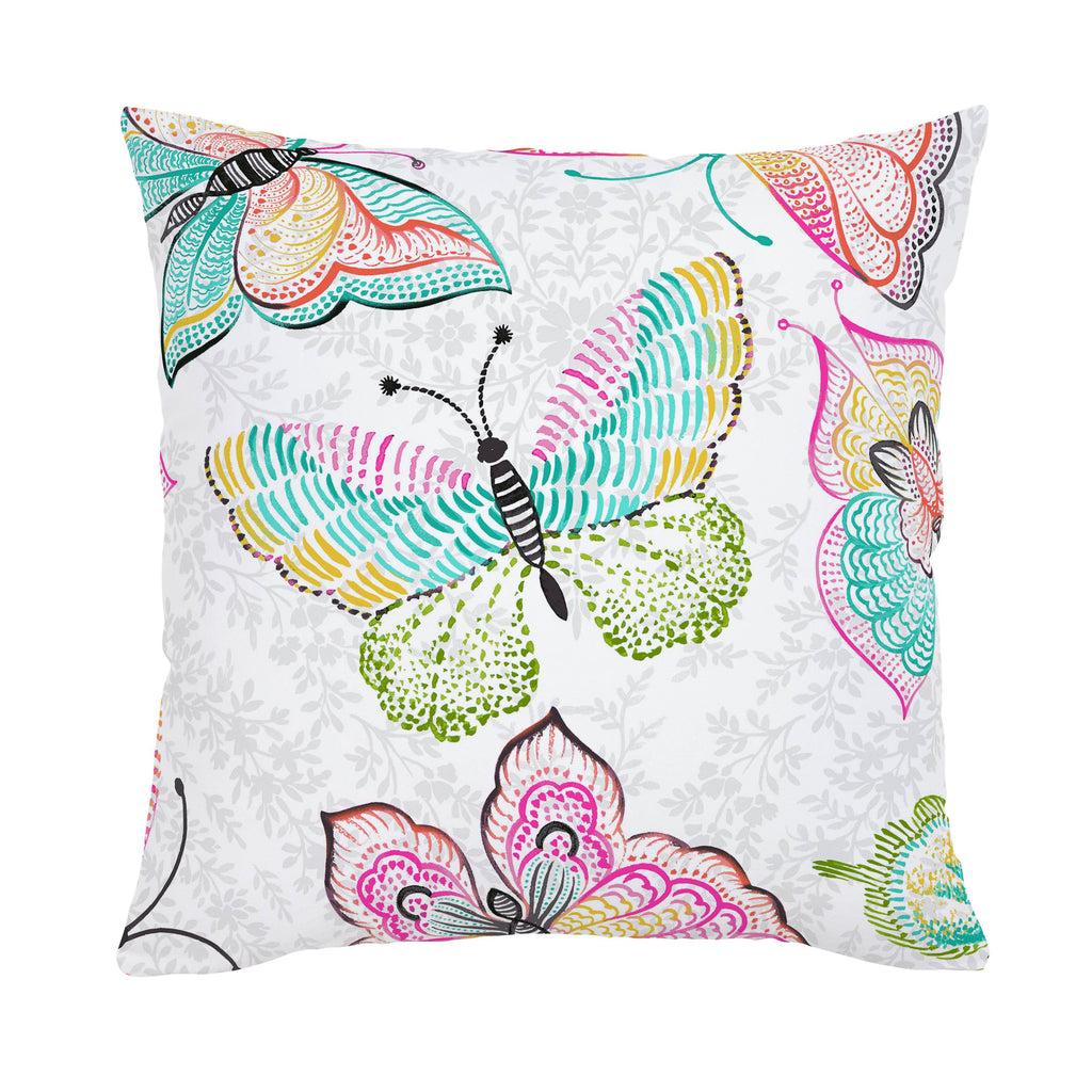 Product image for Bright Damask Butterflies Throw Pillow