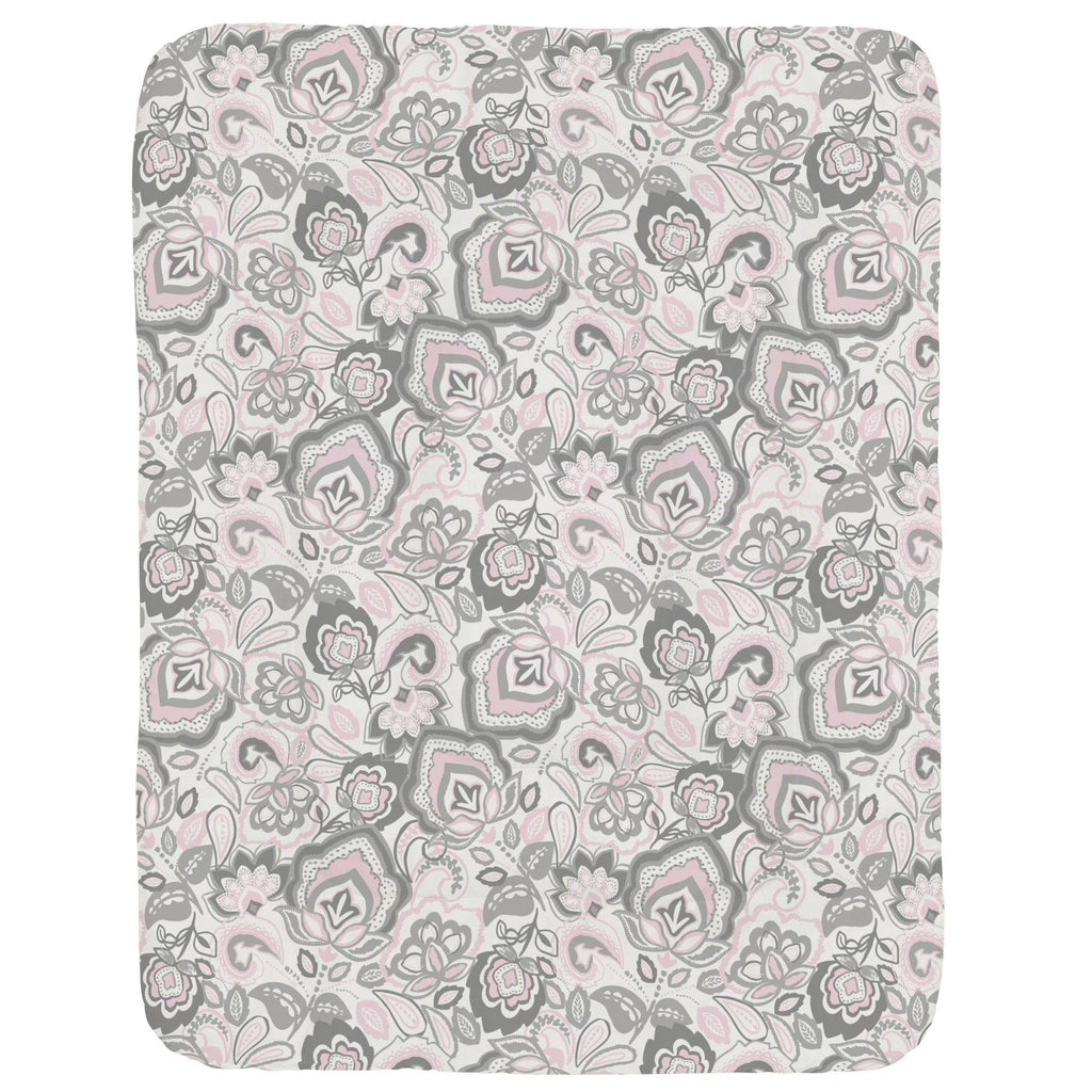 Product image for Pink and Gray Jacobean Crib Comforter