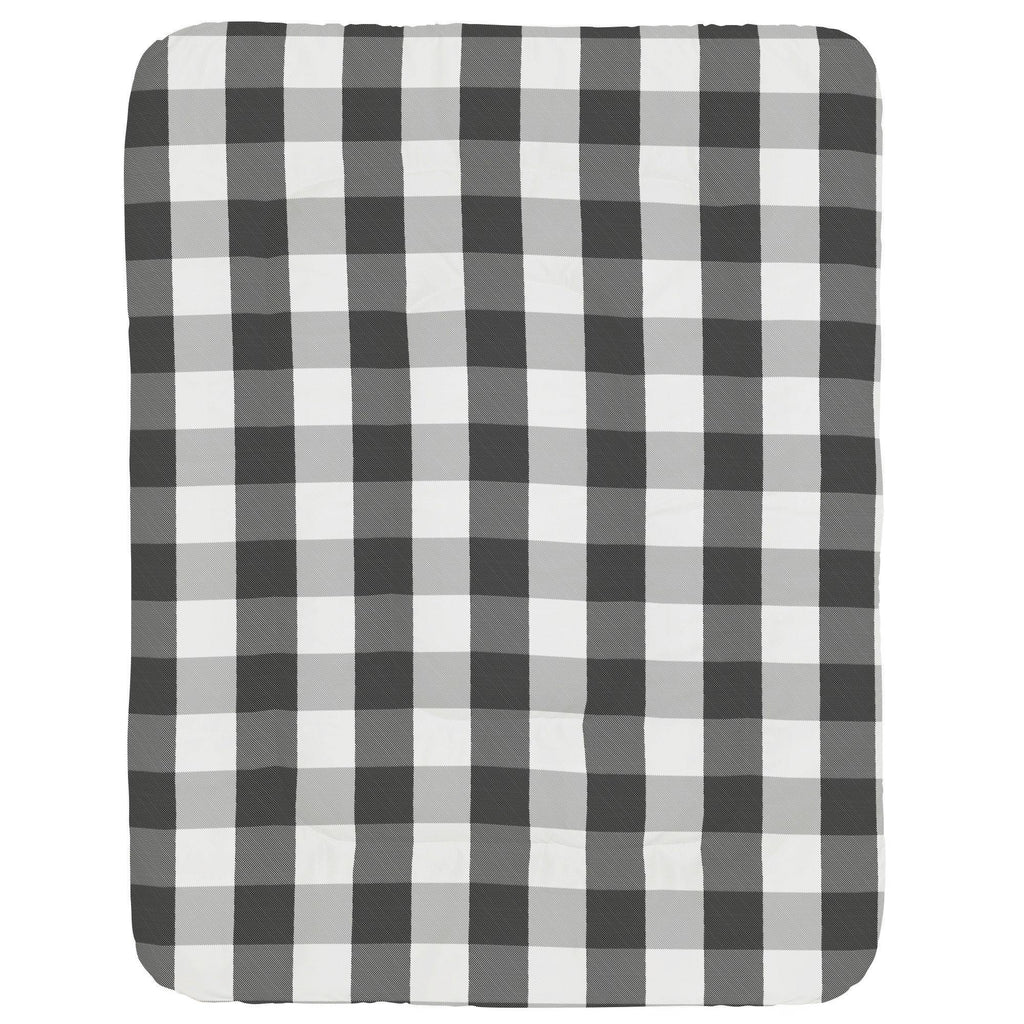 Product image for Onyx and Cloud Gray Buffalo Check Crib Comforter