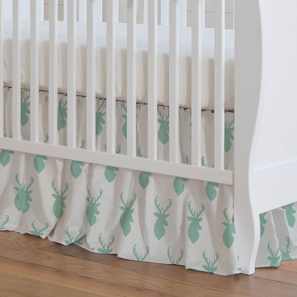 Product image for Mint Deer Head Crib Skirt Gathered