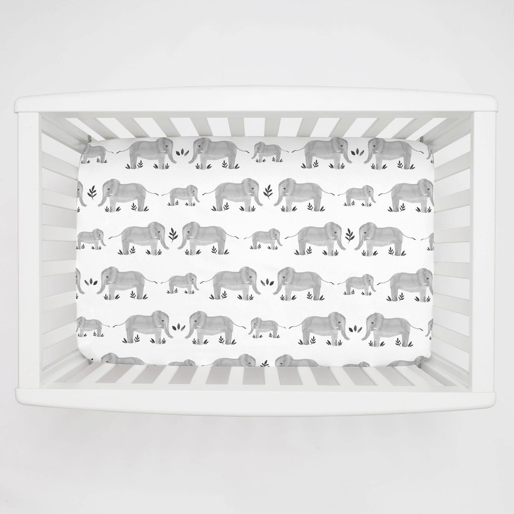 Product image for Gray Painted Elephants Mini Crib Sheet