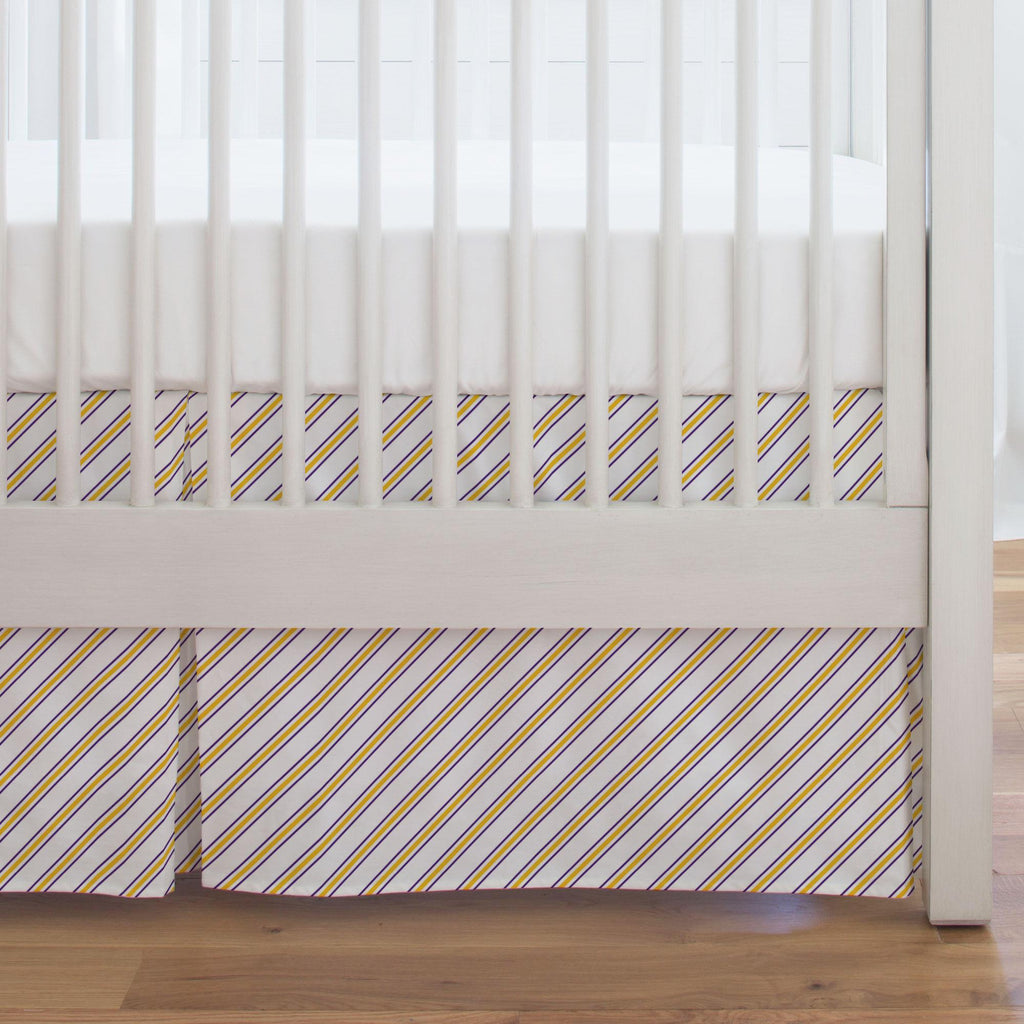 Product image for Purple and Yellow Necktie Stripe Crib Skirt Single-Pleat