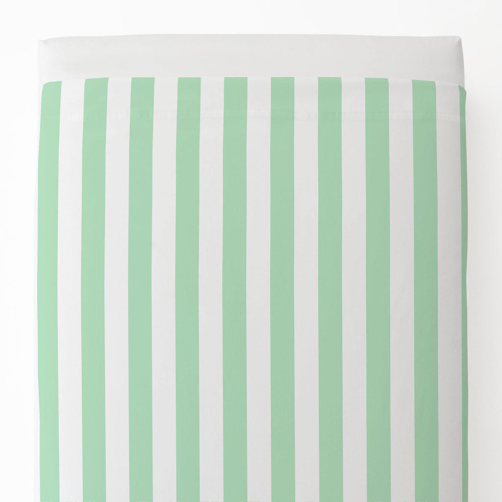 Product image for Mint Stripe Toddler Sheet Top Flat