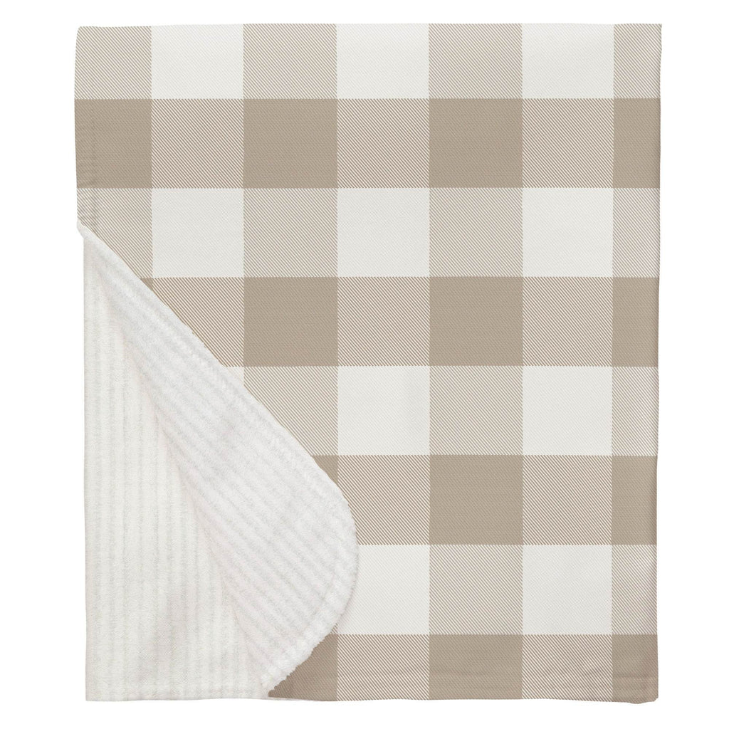 Product image for Taupe and White Buffalo Check Baby Blanket