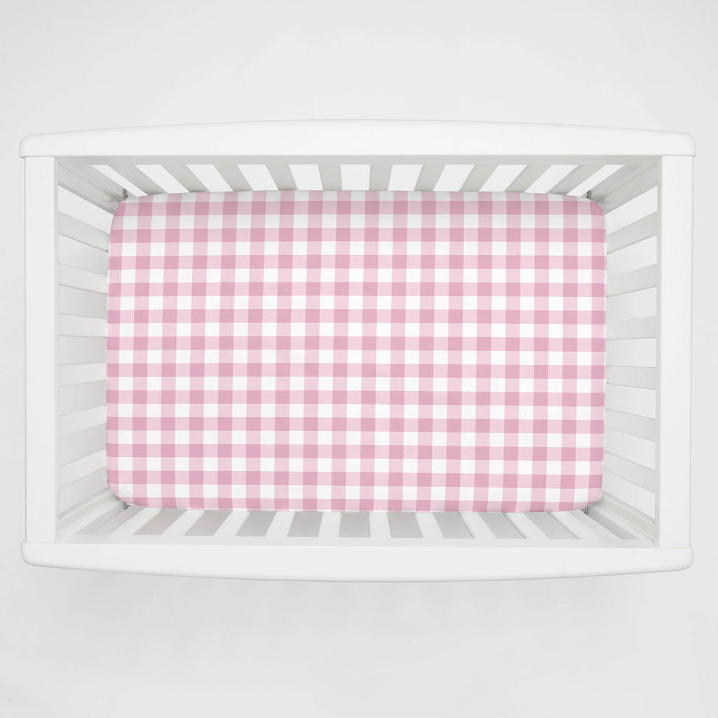 Product image for Bubblegum Gingham Mini Crib Sheet