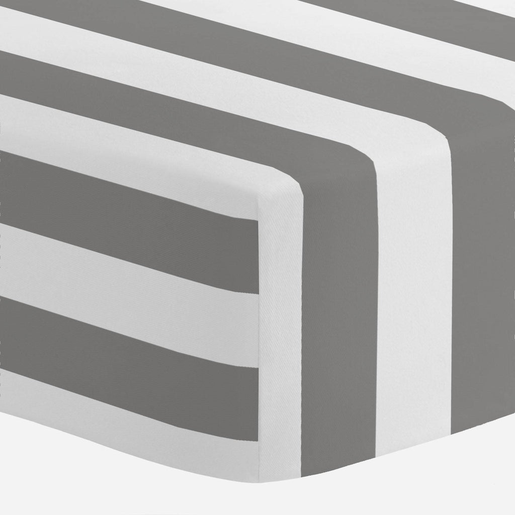 Product image for White and Gray Stripe Crib Sheet