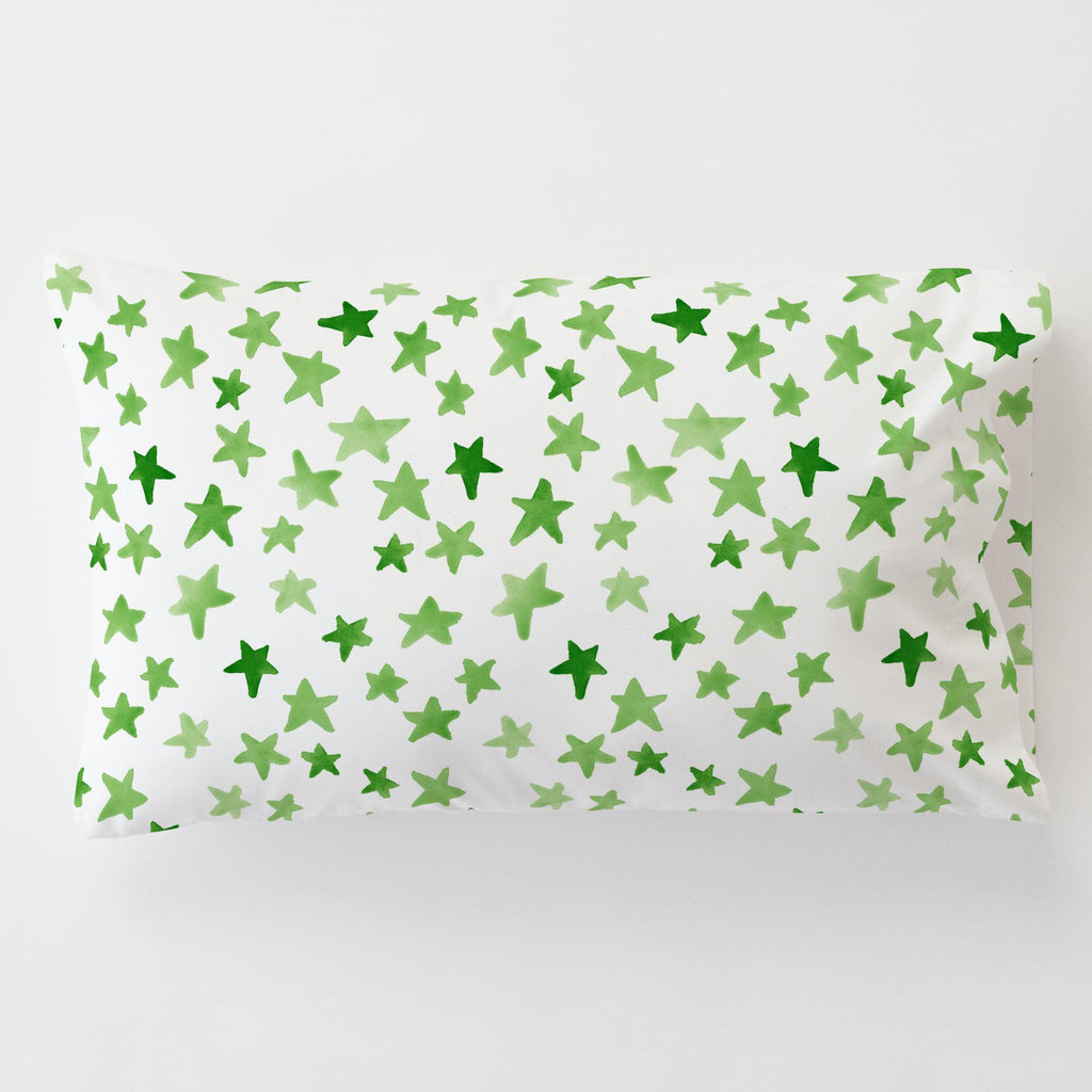 Product image for Green Watercolor Stars Toddler Pillow Case with Pillow Insert