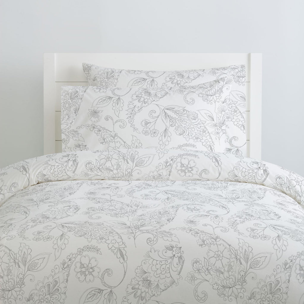 Product image for Cloud Gray Sketchbook Floral Duvet Cover