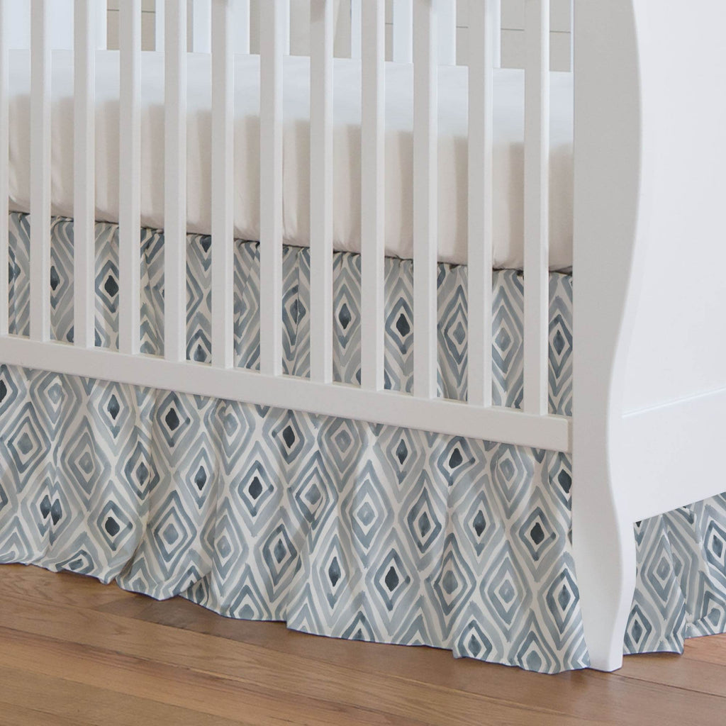 Product image for Steel Blue Painted Diamond Crib Skirt Gathered