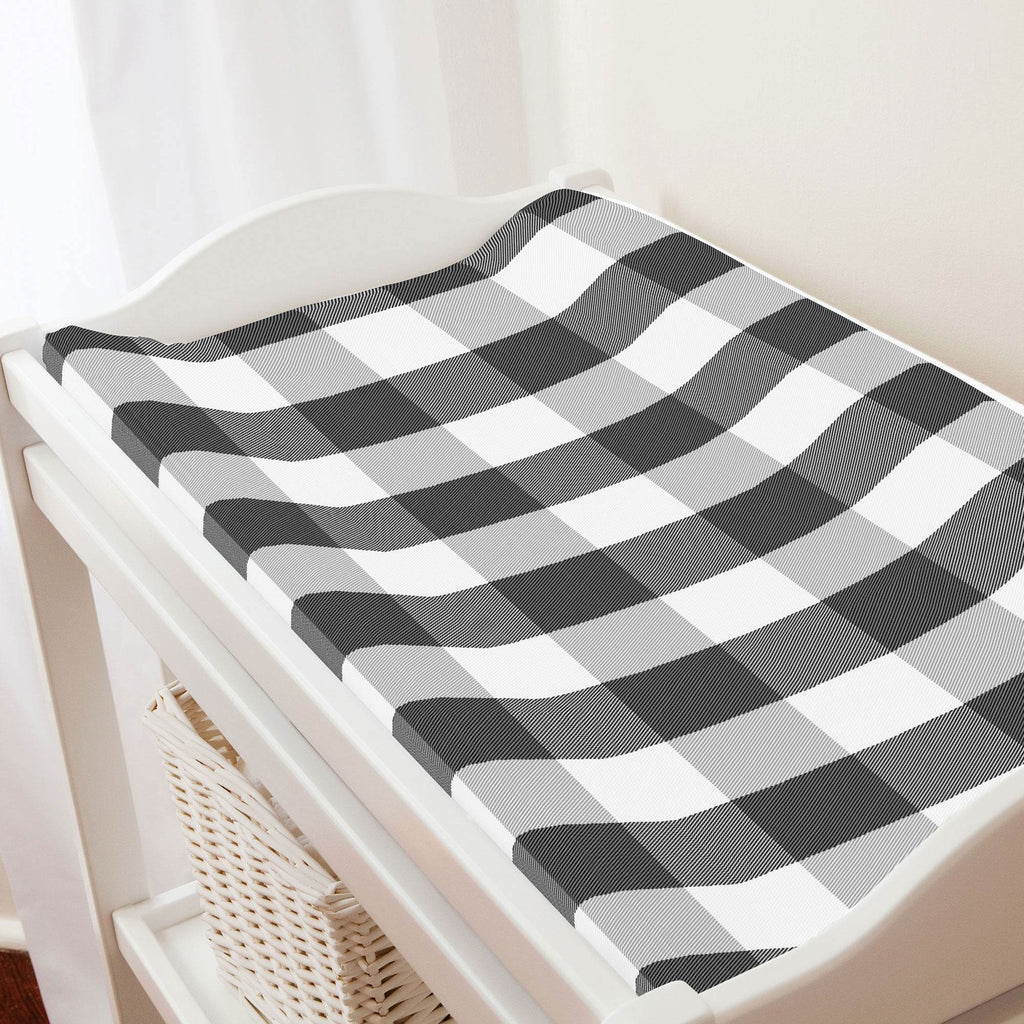 Product image for Onyx and Cloud Gray Buffalo Check Changing Pad Cover