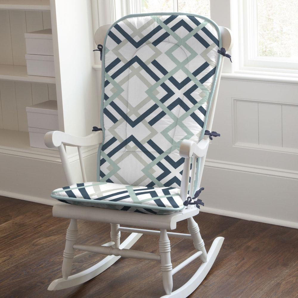 Product image for Navy and Gray Geometric Rocking Chair Pad