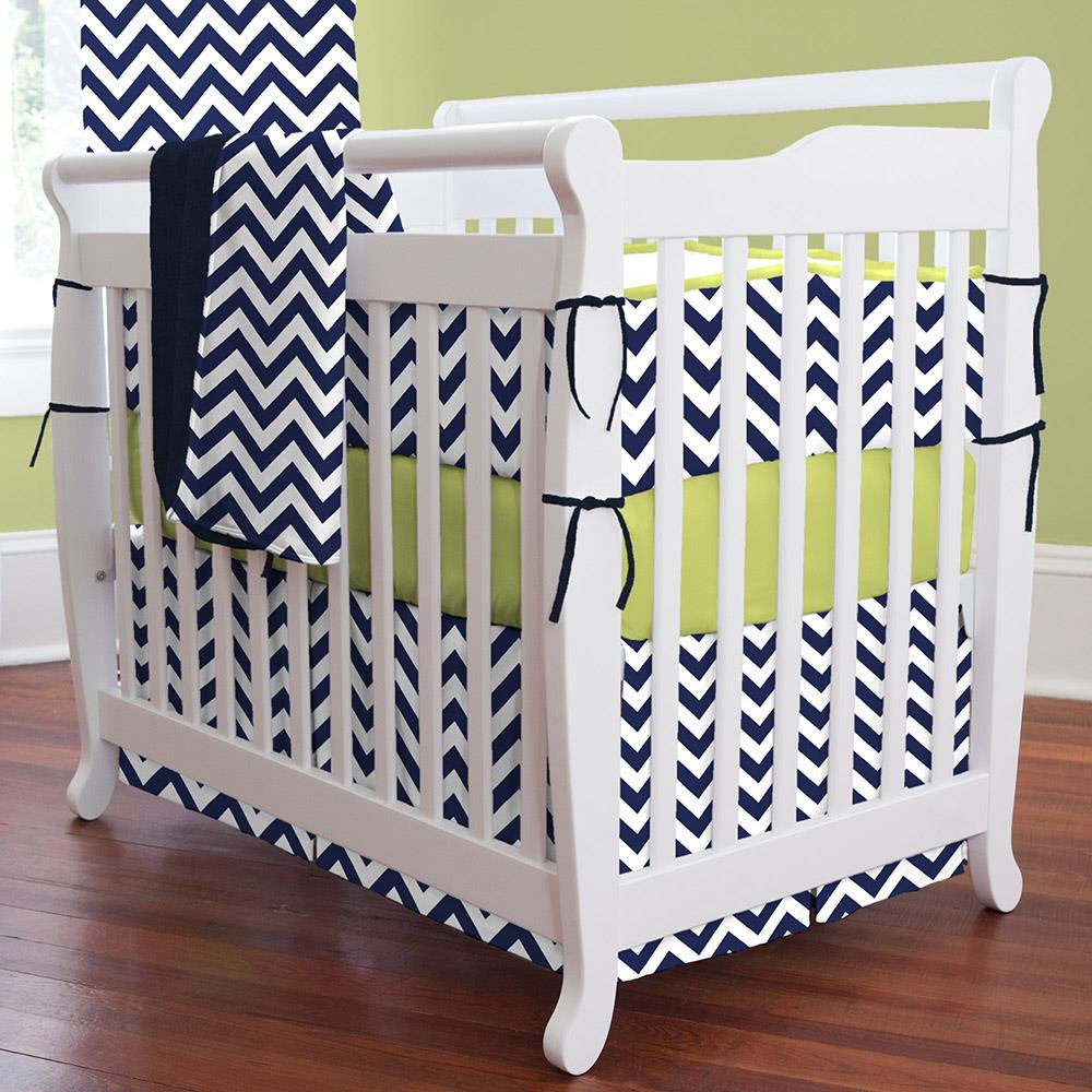 Product image for White and Navy Zig Zag Mini Crib Skirt