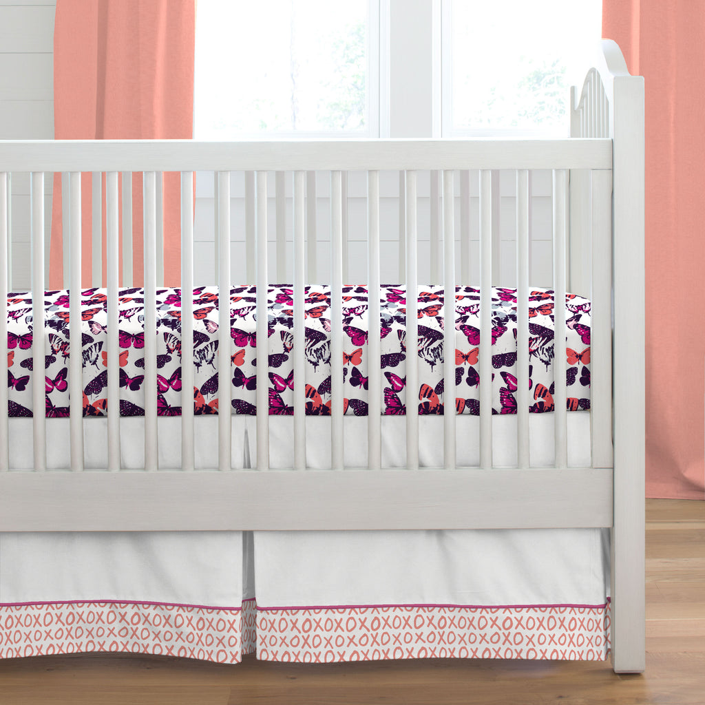 Product image for Fuchsia and Light Coral XO Crib Skirt Single-Pleat with Trim