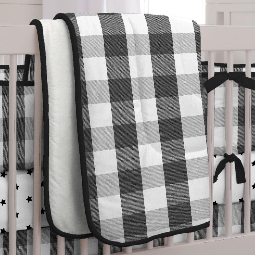 Product image for Onyx and Cloud Gray Buffalo Check Crib Comforter with Piping