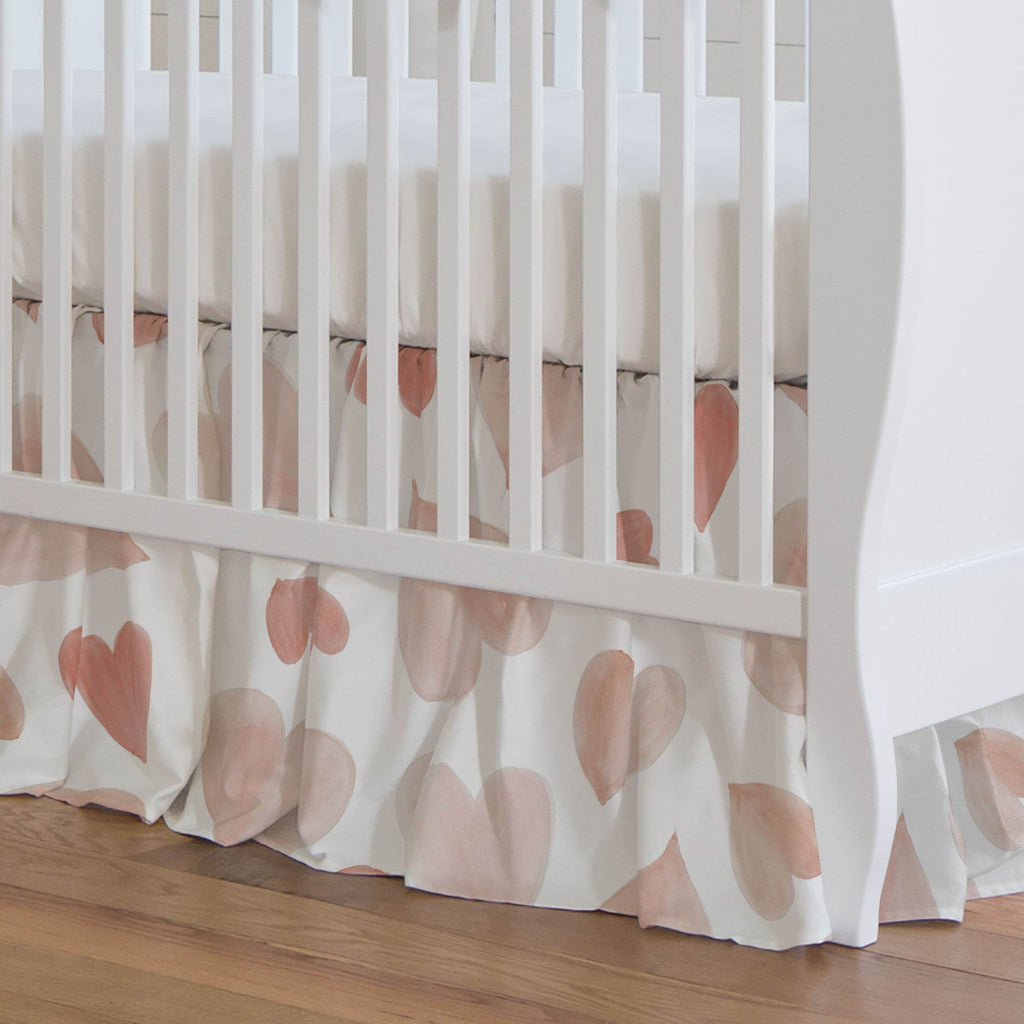Product image for Peach Watercolor Hearts Crib Skirt Gathered