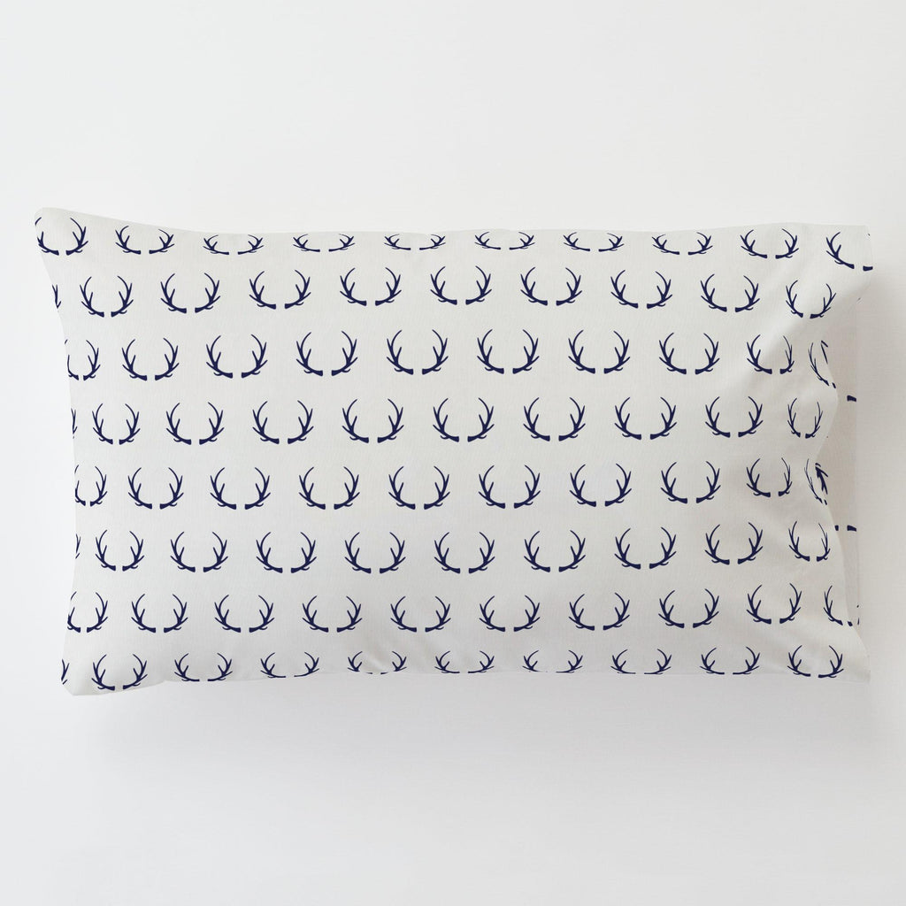 Product image for Windsor Navy Antlers Toddler Pillow Case with Pillow Insert