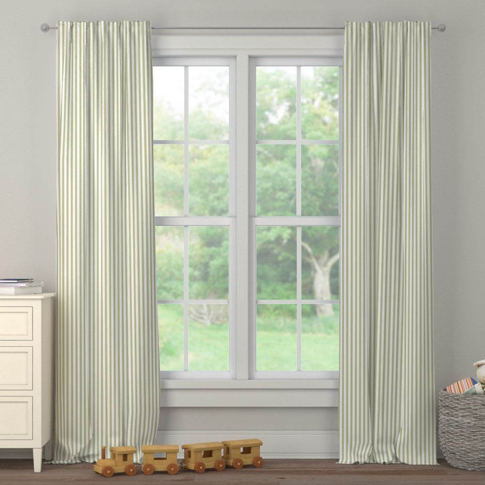 Product image for Sage Ticking Stripe Drape Panel