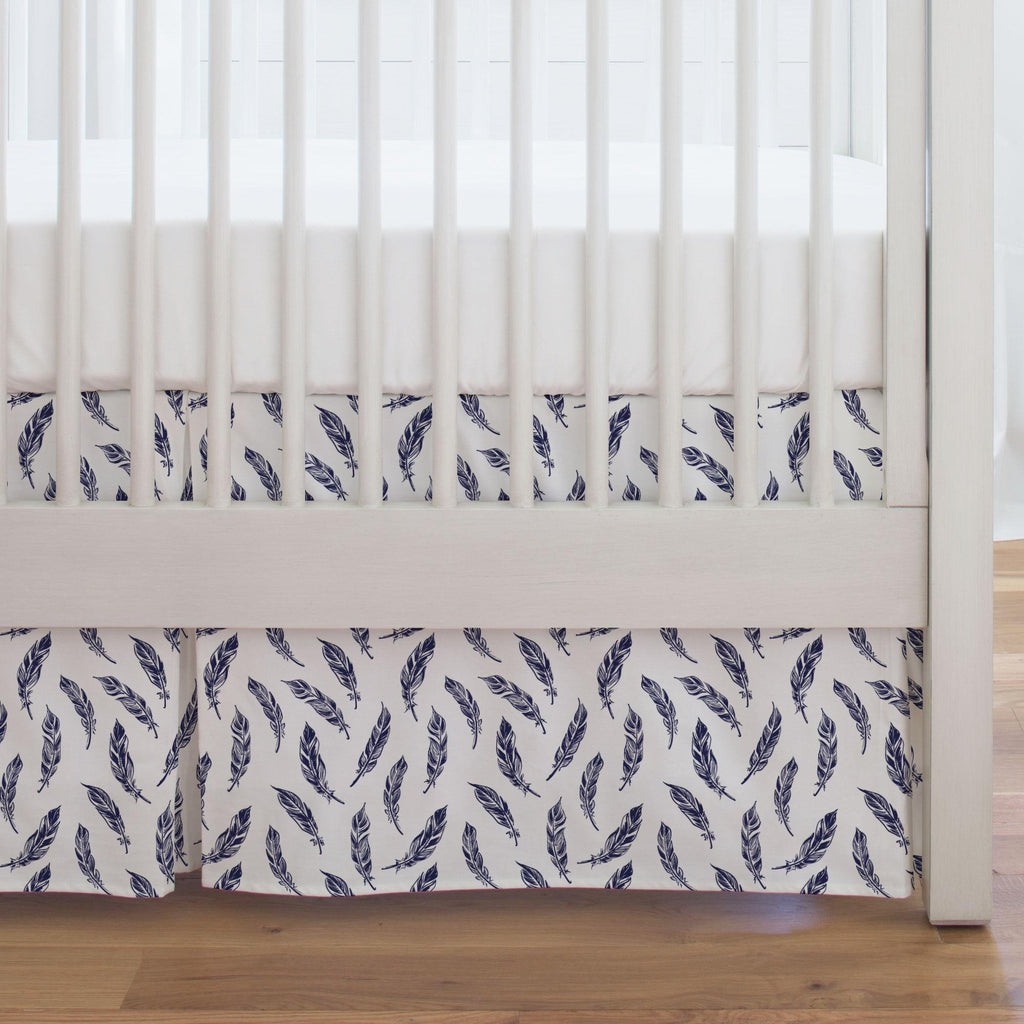 Product image for Navy Hand Drawn Feathers Crib Skirt Single-Pleat
