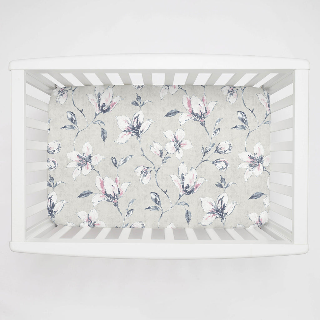 Product image for Pink and Blue Painted Lilies Mini Crib Sheet