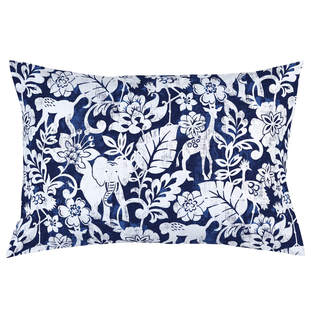 Product image for Navy and White Jungle Pillow Case
