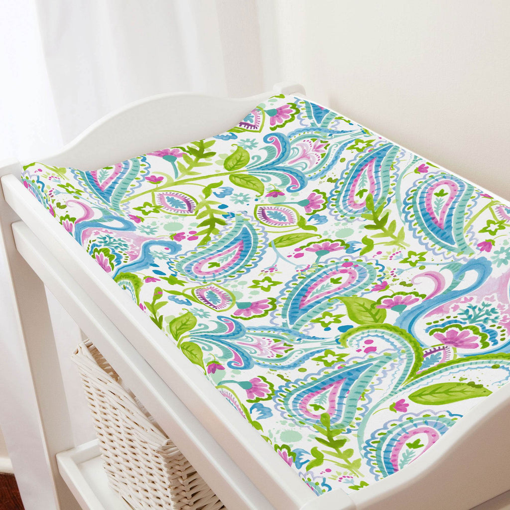 Product image for Orchid Painted Paisley Changing Pad Cover