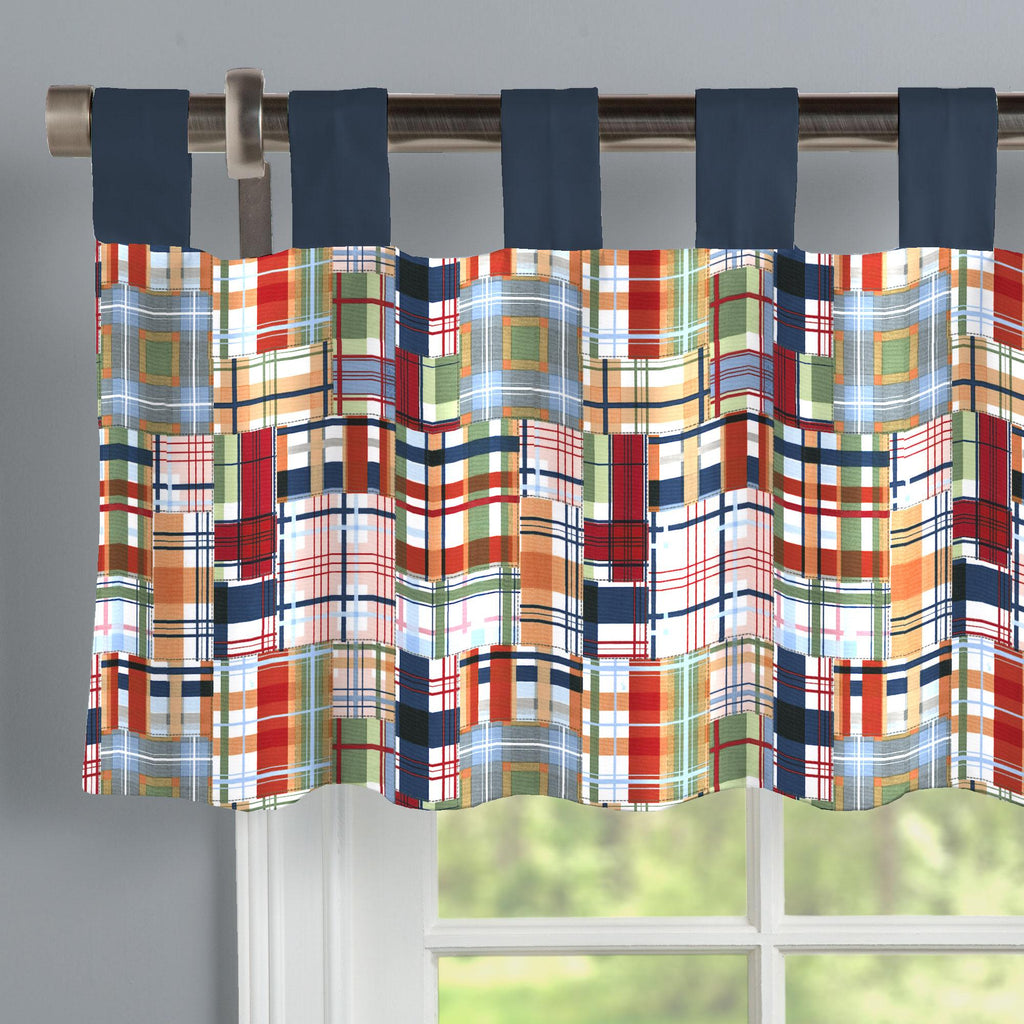 Product image for Patchwork Plaid Window Valance Tab-Top