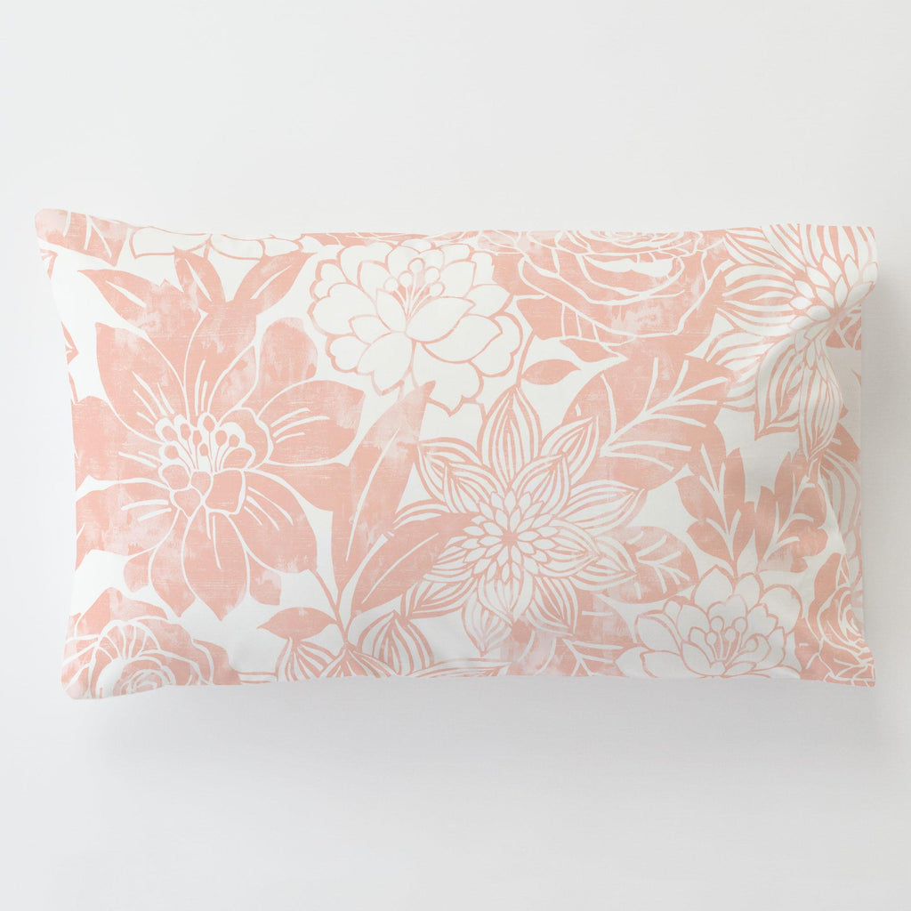 Product image for Peach Modern Blooms Toddler Pillow Case with Pillow Insert