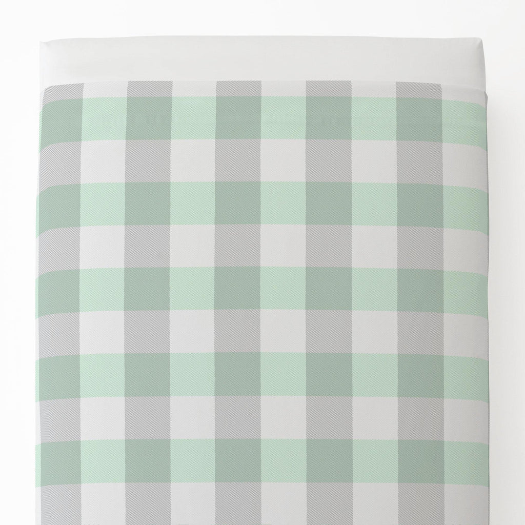 Product image for Mint and Gray Buffalo Check Toddler Sheet Top Flat