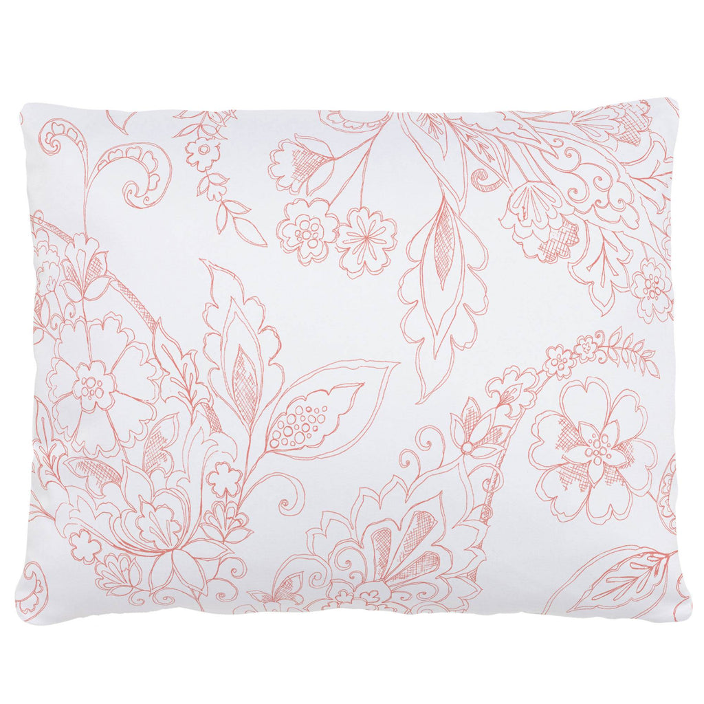 Product image for Light Coral Sketchbook Floral Accent Pillow