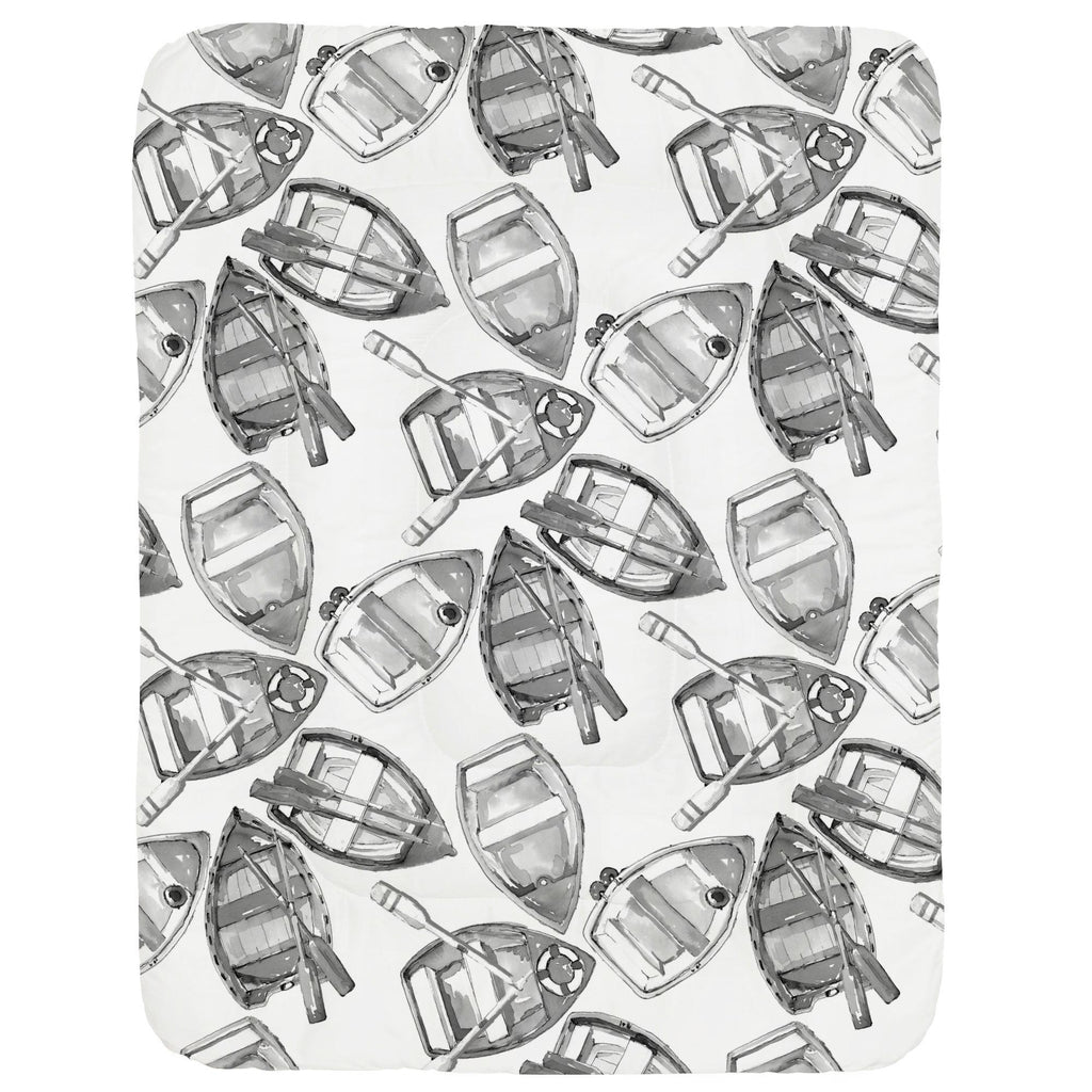 Product image for Gray Watercolor Boats Crib Comforter