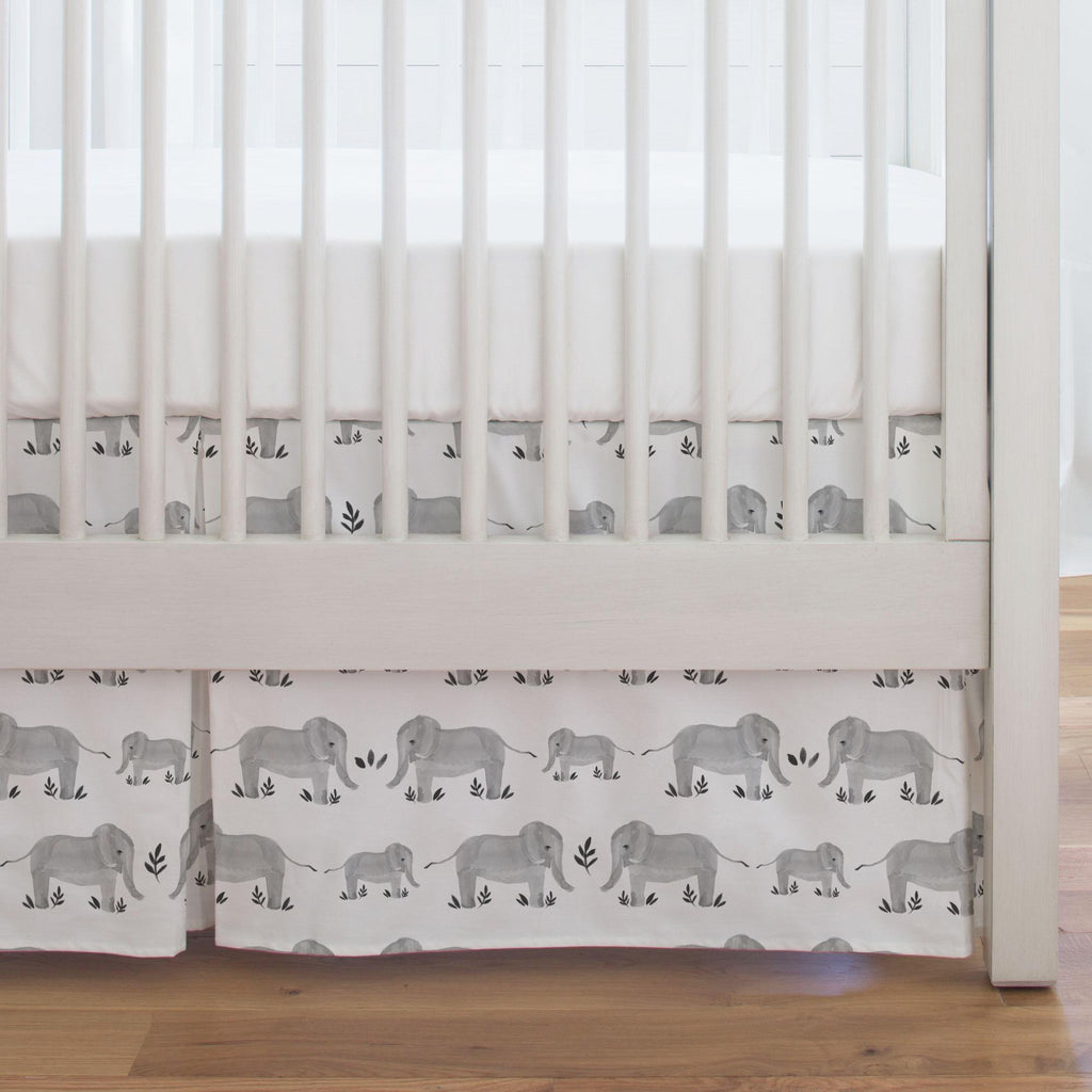 Product image for Gray Painted Elephants Crib Skirt Single-Pleat