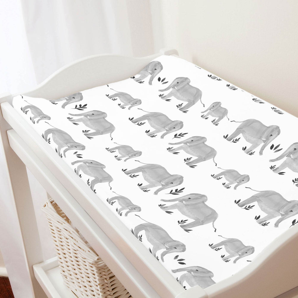 Product image for Gray Painted Elephants Changing Pad Cover