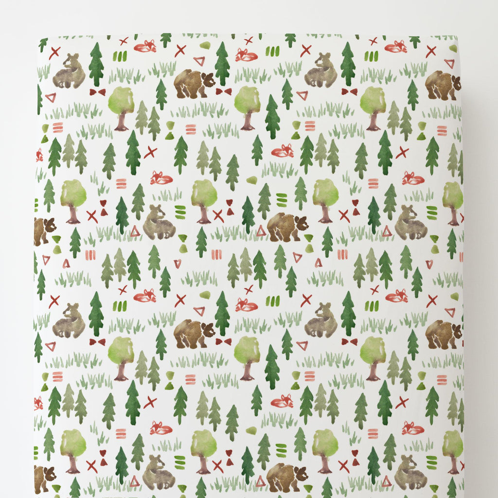 Product image for Watercolor Forest Toddler Sheet Bottom Fitted