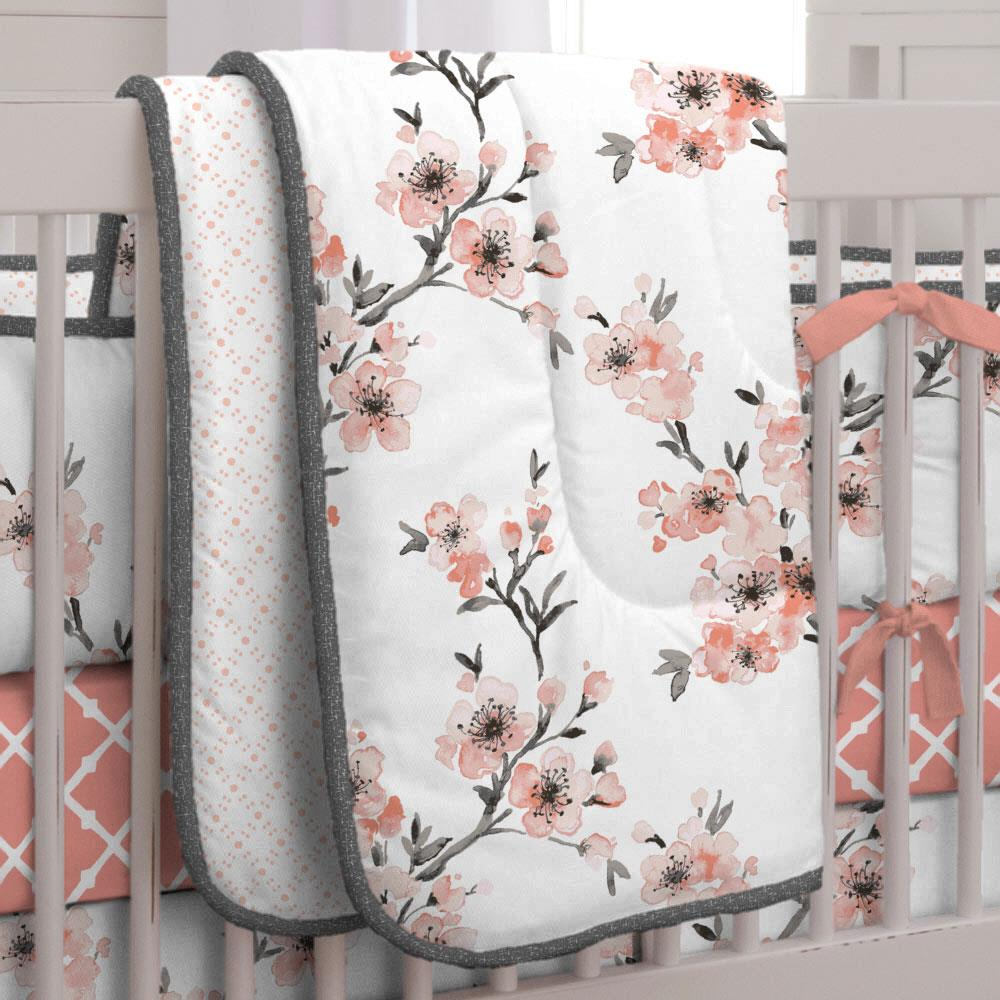 Product image for Light Coral Cherry Blossom Crib Comforter with Piping