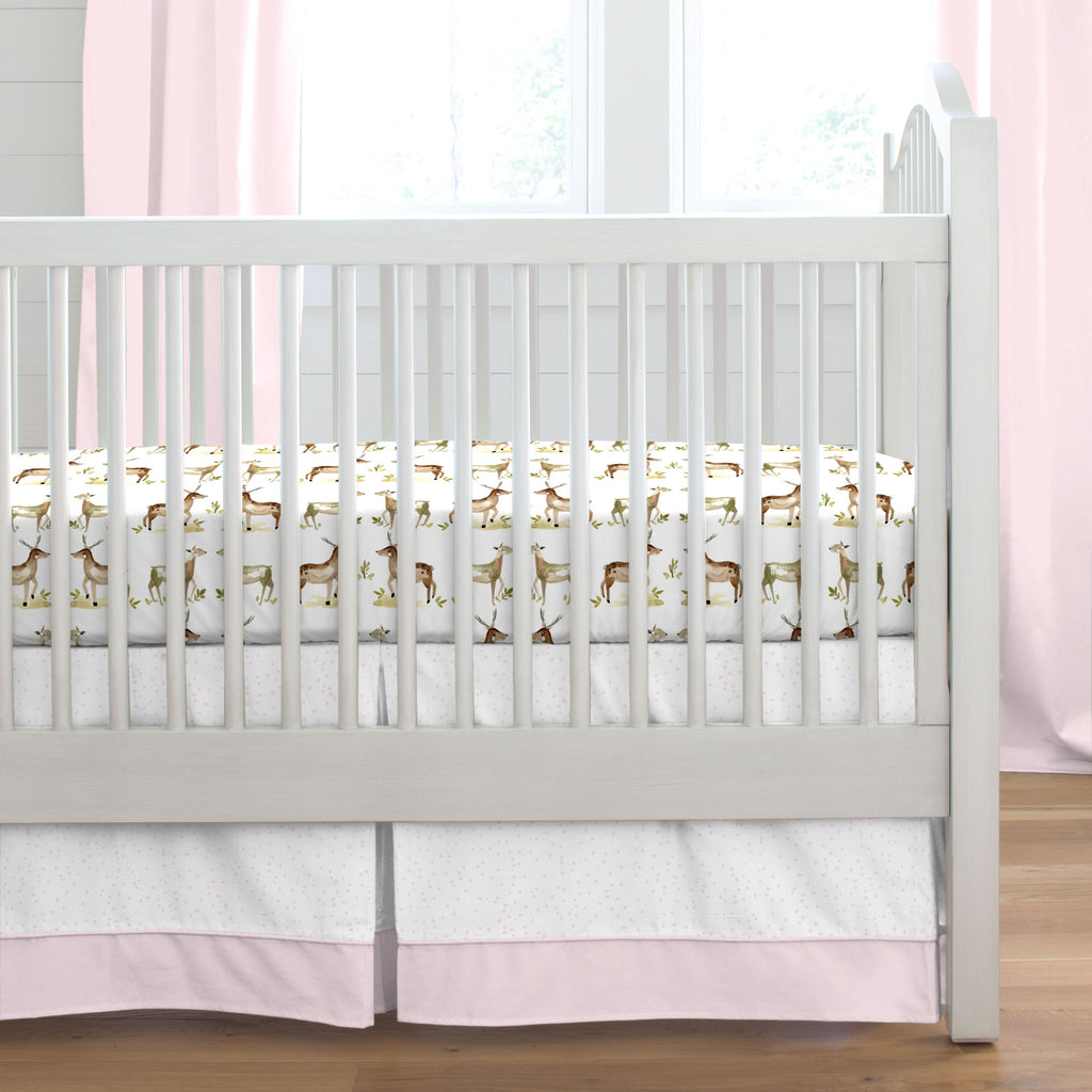 Product image for Pink Snowfall Crib Skirt Single-Pleat with Trim