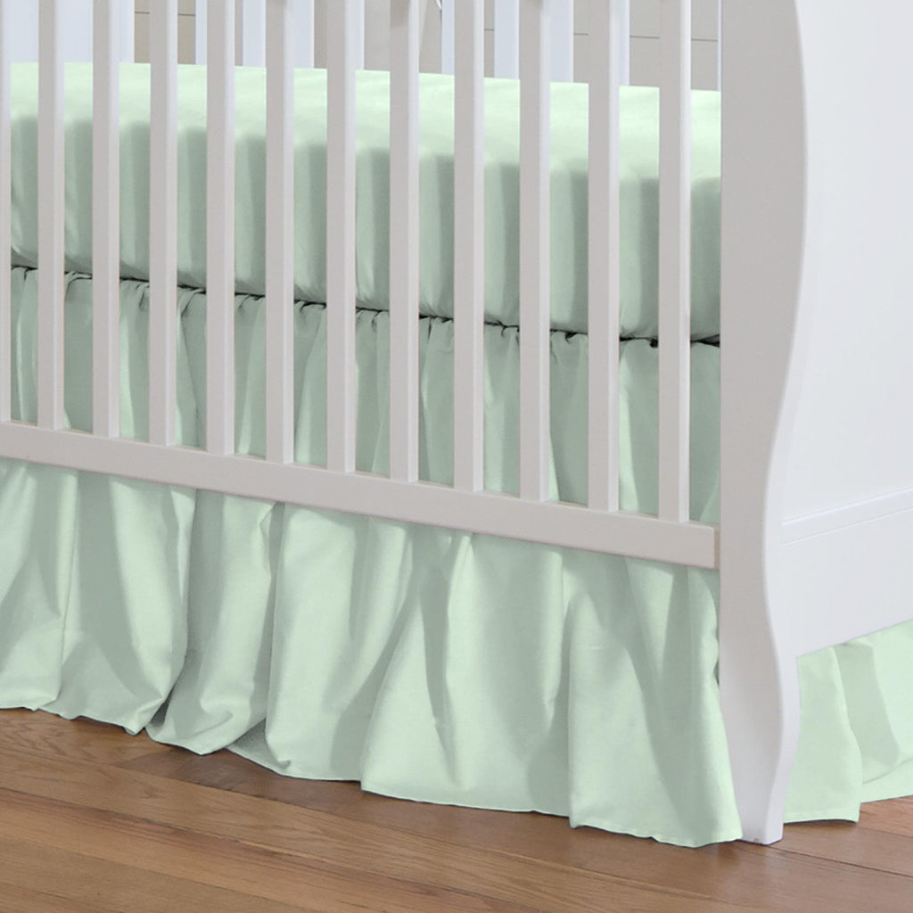Product image for Solid Icy Mint Crib Skirt Gathered