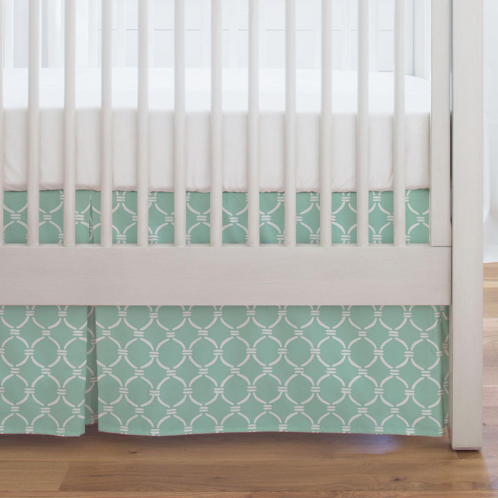 Product image for Mint and White Lattice Circles Crib Skirt Single-Pleat