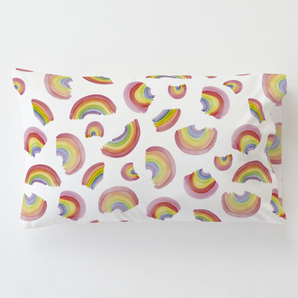 Product image for Watercolor Rainbows Toddler Pillow Case with Pillow Insert