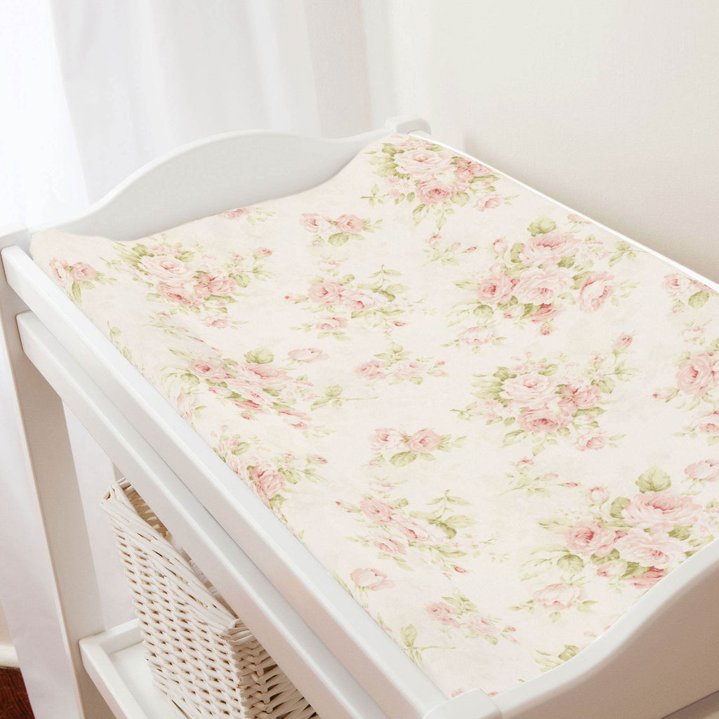 Product image for Pink Floral Changing Pad Cover
