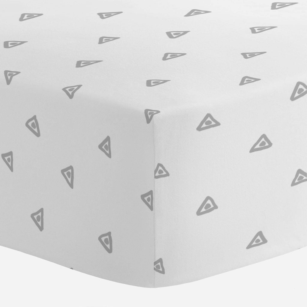 Product image for Silver Gray Triangle Dots Crib Sheet