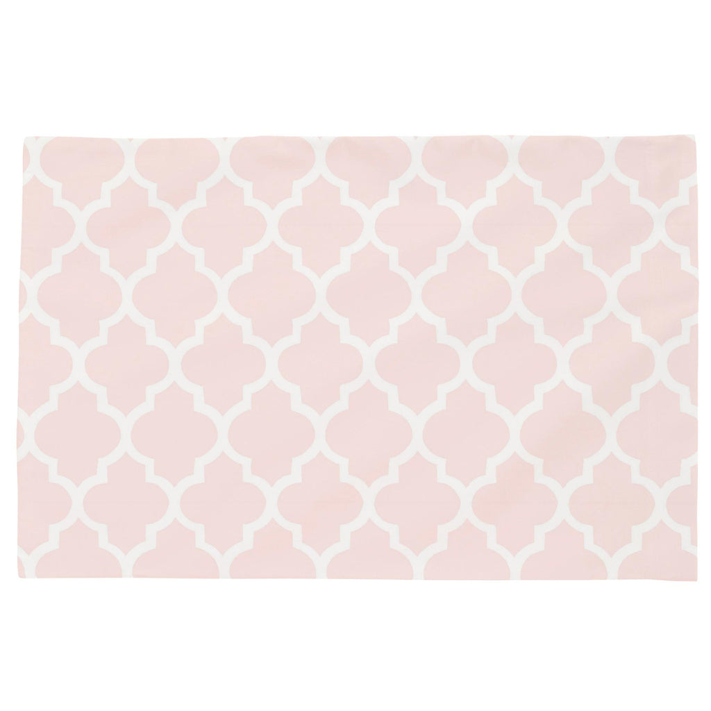 Product image for Blush Pink Hand Drawn Quatrefoil Toddler Pillow Case