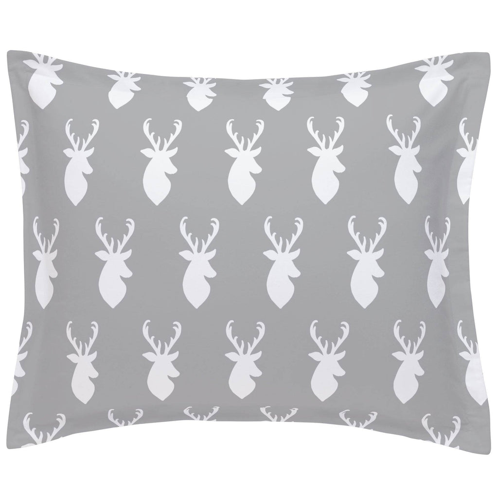 Product image for Silver Gray and White Deer Head Pillow Sham