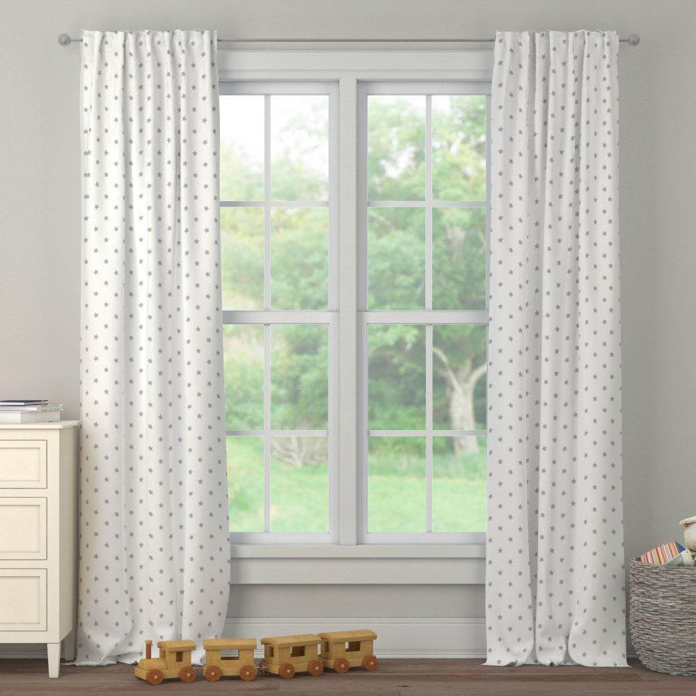 Product image for Silver Gray Stars Drape Panel