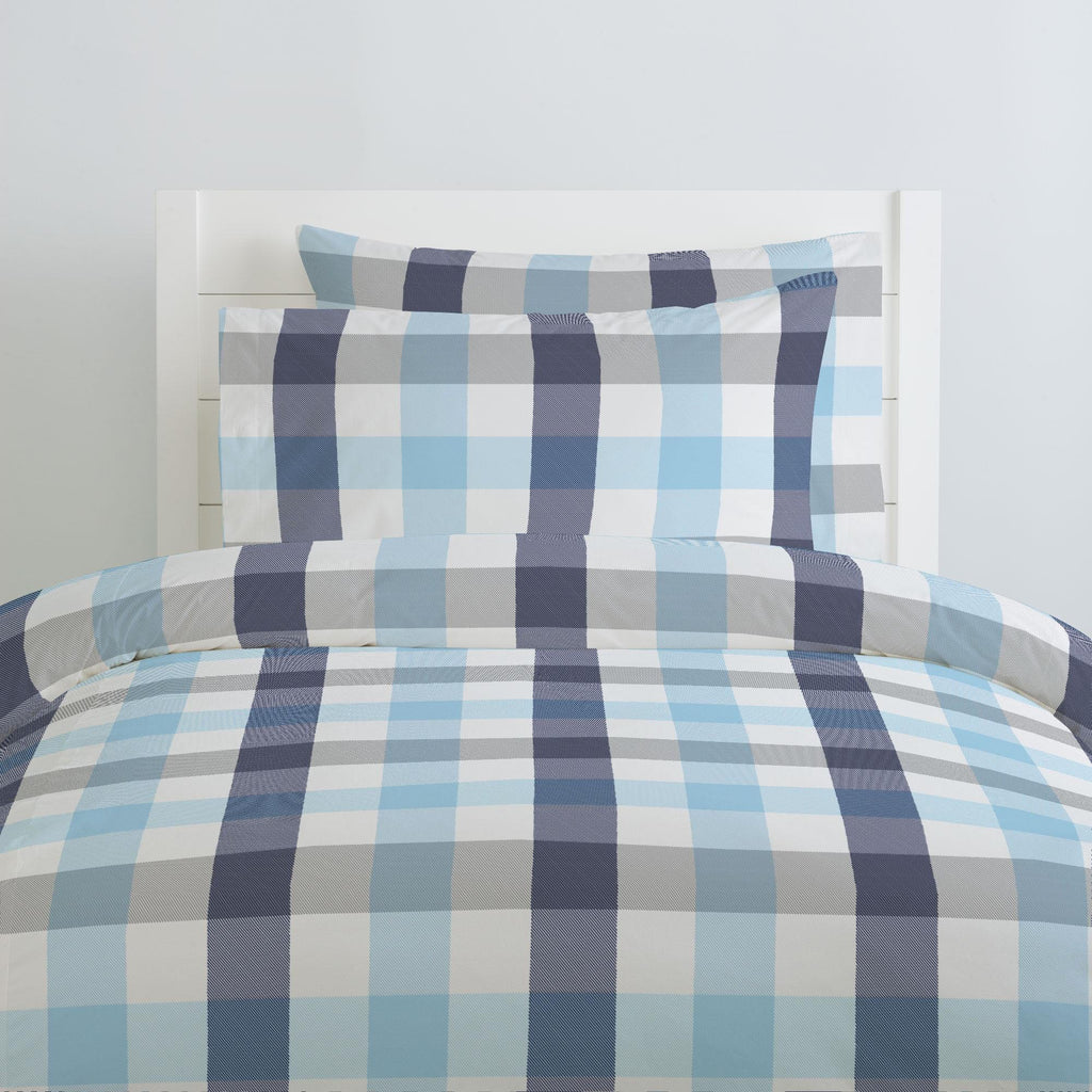 Product image for Navy and Lake Blue Buffalo Check Duvet Cover