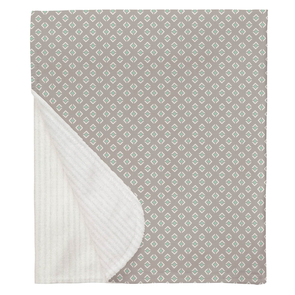 Product image for Taupe and Mint Diamond Baby Blanket