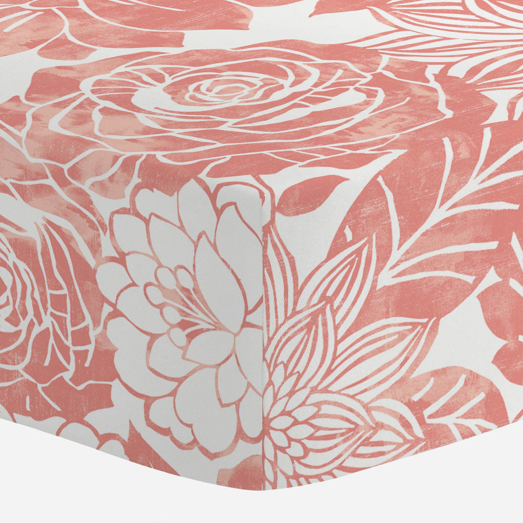 Product image for Light Coral Modern Blooms Crib Sheet