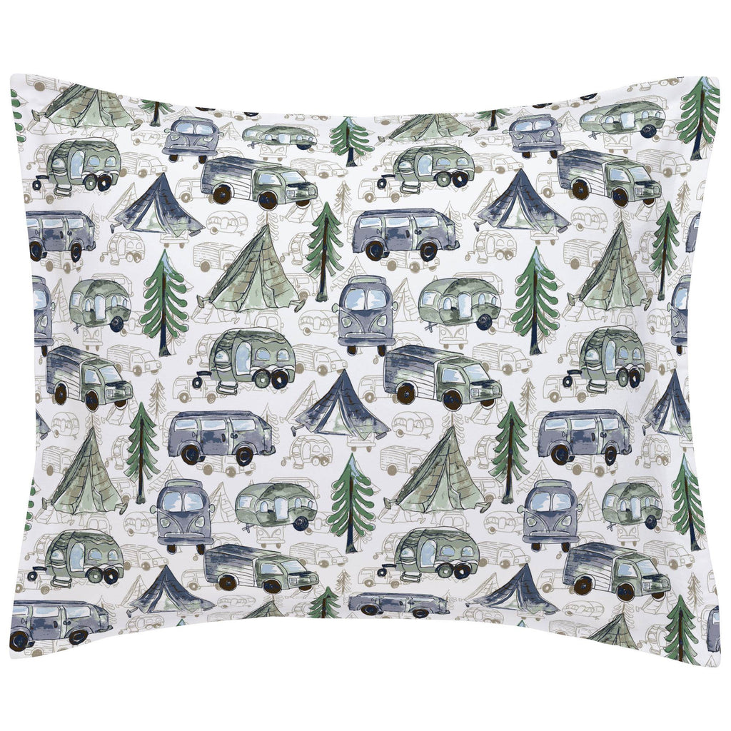 Product image for Navy and Seafoam Gone Camping Pillow Sham